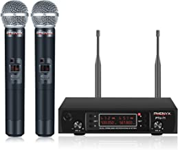 Wireless Microphone System, Phenyx Pro UHF Cordless Mic Set with 2 Handheld Mics, All Metal, 2x200 Channels, Distortion-Fr...