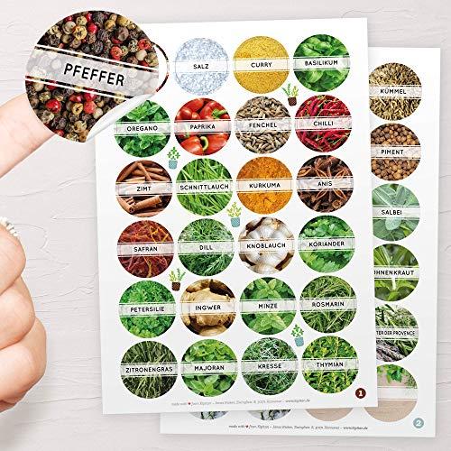 44x Gewürzetiketten/Gewürzaufkleber (4cm/40mm) - Runde Etiketten selbstklebende, leicht abziehbar und abwischbare Sticker: Für Gläser oder Dosen +4 Blanco-Aufkleber zum selbst beschriften
