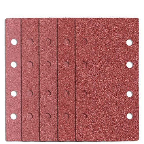 25 Stücke Schleifblätter Set 185 x 93mm | Körnung je 5 x 40 60 80 120 180 | 8 Löcher Schleifpapier Rechteckig fürc Bosch Schwingschleifer