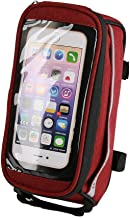 B-Soul Bike Front Frame Tube Phone Storage Bag Hook&Loop Closure Cycling Bicycle Pouch with Headphone Plug(Red)