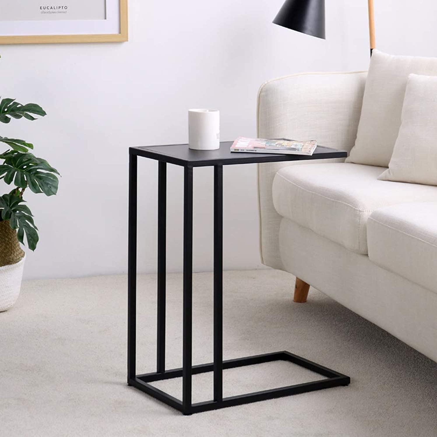 End Tables Black Living Room Side Table Couch Sofa Iron Bedroom Bedside for Bathroom Small Spaces Office Outdoor Indoor Decor Furniture