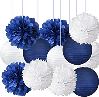 Nautical Party Decor Pom Poms Tissue Paper Lanterns Navy Blue Decorations for Baby Shower Boy Scout Banquet Birthday Party Nursery Decorations Bridal Shower Wedding Party Decorations