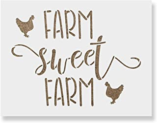 Farm Sweet Farm Farmhouse Chicken Sign Stencil - Reusable Stencils for Painting - Create DIY Farm Sweet Farm Farmhouse Chicken Sign Home Decor