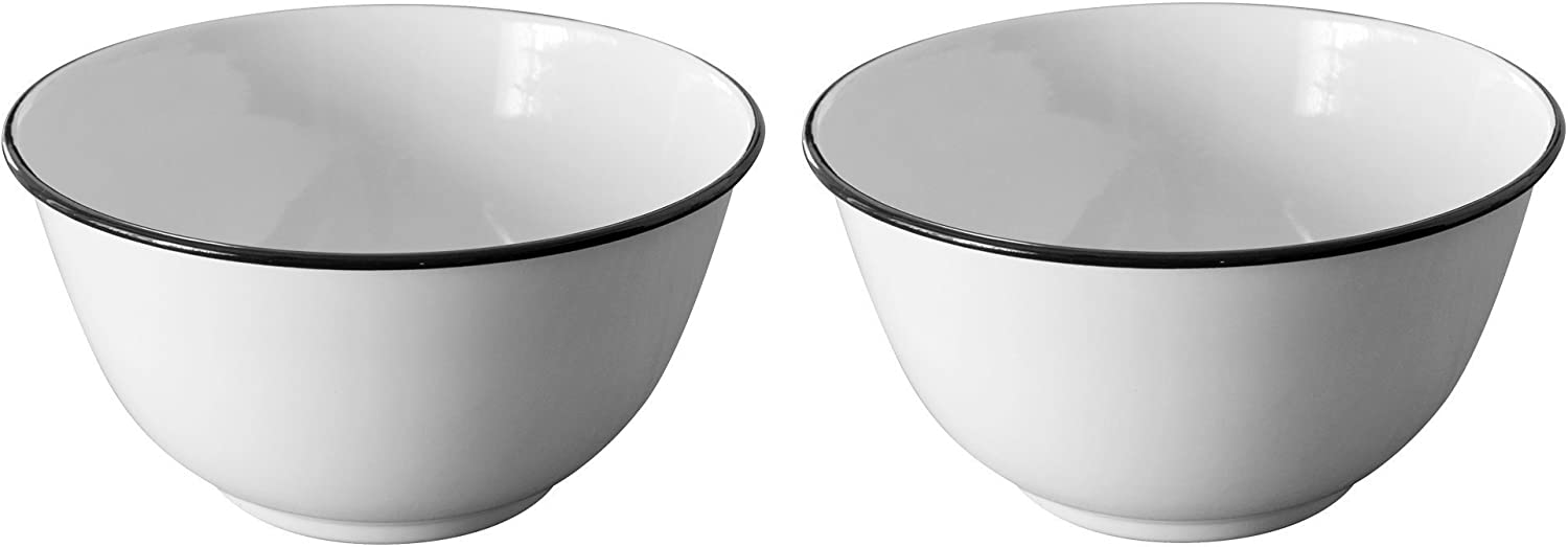 Crow Canyon - Set of 2 Enamelware Large 4 Quart Serving Bowls - 10.5 Inches in Diameter by 5.5 Inches Tall (White with Black Rim)