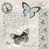 20 servilletas con diseño de mariposas en postal, estilo vintage para decoupage y técnica de servilletas, 33 x 33 cm
