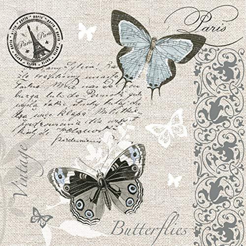 20 Servietten Schmetterlinge auf Postkarte im Vintage Stil für Decoupage und Serviettentechnik 33x33cm