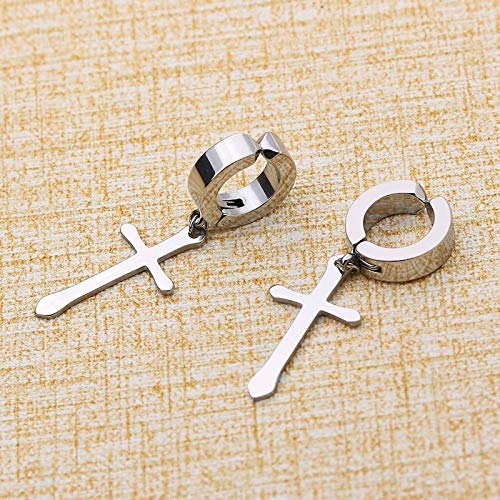Earring Stainless Steel Clip On Non Piercing Earrings for Women Men Black Gold Color Cross Gothic Punk Rock Drop Pendiente Falsos 1 Pair Accessories (Metal Color : Steel Color)