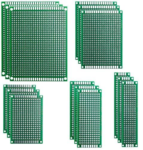 15 Piezas Placas de Fibra de Vidrio de Doble Cara de PCB Taladradas Con Taladro Tarjeta Placa Prototipo Kit para Soldadura DIY con 5 Tamaños Compatible con los kits Arduino y Raspberry