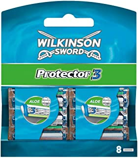 Wilkinson Sword Protector 3 Refill Cartridges Razor Blades, 8 Count (Comparable to Schick Protector)