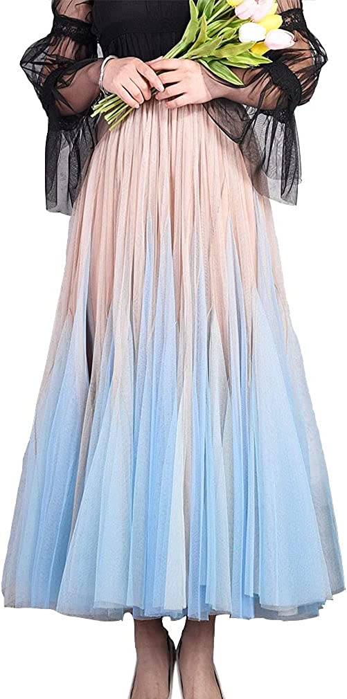 Get The Looks Trumpet Super Flare Ombre Midi Tulle Skirt