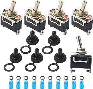10A 250V 6A ACAMPTAR 10 Piezas de Interruptor basculante de Rojo Boton Redondo 2 Pin SPST ENCENDIDO//APAGADO AC 125V
