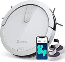 Coredy Robot Vacuum Cleaner, Wi-Fi Connected, Compatible with Alexa, Virtual Boundary Supported, 1400Pa Max Suction, Super Quiet All-New Upgraded Robotic Vacuums, Cleans Hard Floor to Carpet (White)