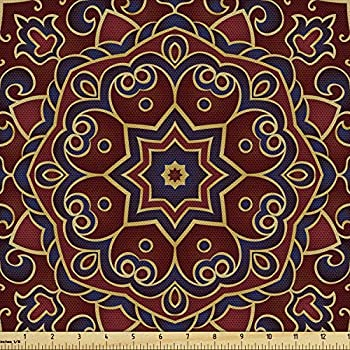 Lunarable Burgundy Fabric by The Yard Oriental Mandala Floral Motifs Persian Mosaic Abstract Decorative Fabric for Upholstery and Home Accents 3 Yards Navy Blue