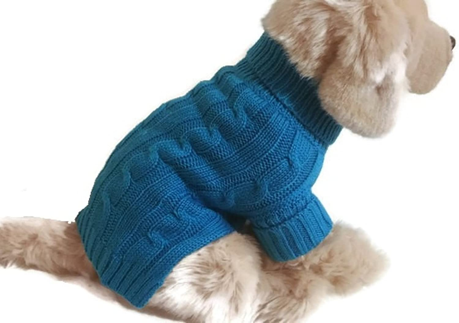 Azure bluee Small Dog Sweater Cable Knit Puppy Clothes Cute Winter Apparel (Large)