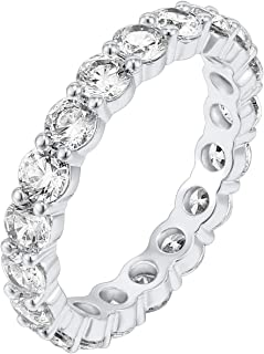 14k white gold cubic zirconia eternity band