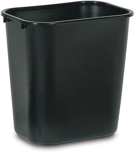 Rubbermaid Commercial Products 2063171 Plastic Resin Deskside Wastebasket, 7 Gallon/28 Quart, Black (Pack of 4)