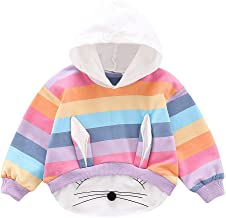Mayunn Infant Baby Boys Girls Cotton Rainbow 3D Rabbite Ear Print Hooded Pullover Clothes Outfits (0Month-36Months)