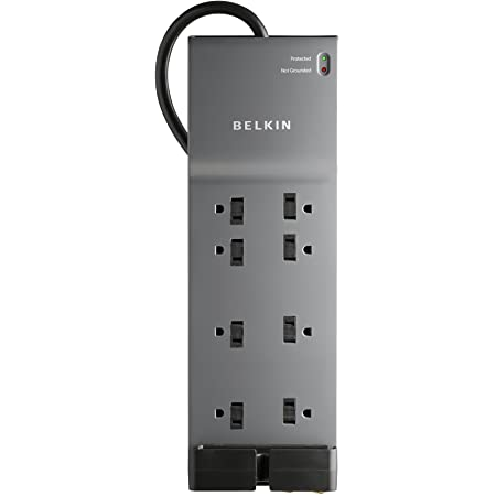Power Strip, Belkin Surge Protector - 8 AC Multiple Outlets (3550 Joules) - 6 ft Long Flat Plug Heavy Duty Extension Cord for Home, Office, Travel, Computer Desktop & Phone Charging Brick - Black