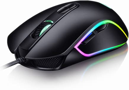 AhaSky Ratón Gaming con Cable Profesional USB 4800 DPI Ajustable RGB y 6 Botón Compatible con Windows 7, 8, 10, XP y Mac OS, para Gamer de Alta Precisión