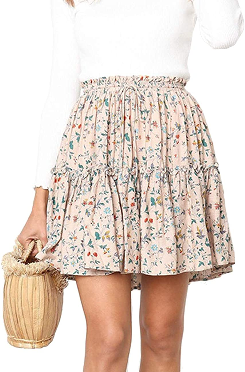 SEMATOMALA Women's Ruffle High Waist Printed Cute Casual School Girls Mini Skirt Summer Beach Party Short Skirts