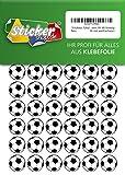 135 Aufkleber, Fußball, Sticker, 20 mm, weiß/schwarz, aus PVC, Folie, bedruckt, selbstklebend, EM, WM, Bundesliga