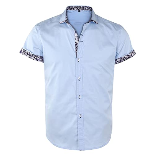 f50765c75b8 JEETOO Men s Short Sleeve Shirts Floral Print Dress Shirt Button Down  Summer Casual Shirt