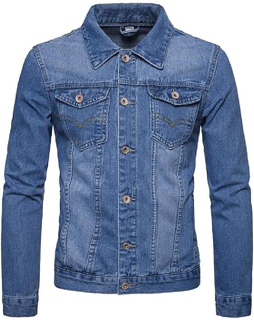 Amoy Baby Mens Basic Pockets Denim Washed Trucker Single Breasted Jacket