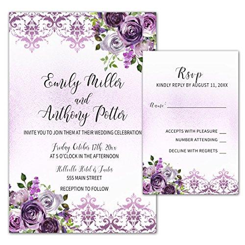 100 Wedding Invitations Purple Plum Lavender Damask Floral Design + Envelopes + Response Cards Set