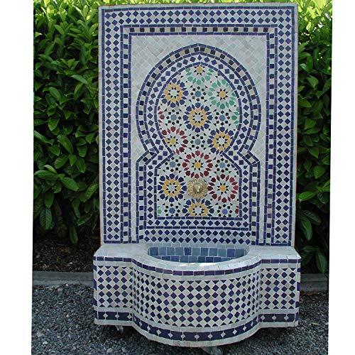 Casa Moro Marokkanischer Gartenbrunnen Mosaikbrunnen Ratila Blau 110x65 cm (HöhexBreite) inklusive Pumpe & Transporträder Mosaik-Brunnen für Garten Balkon Terrasse Zimmer BR3011