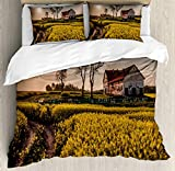 Set copripiumino per casa di campagna, vecchia casa rurale abbandonata, prato floreale, villaggio idilliaco, paesaggio pastorale, set di biancheria da letto decorativo, 3 pezzi, con 2 federe per cusci