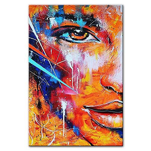 Liangzheng Pinturas de Lienzo abstractas de Media Cara de Fuego Cuadros Modernos de Lienzo de Arte de Graffiti para Sala de Estar Decoración de Pared Carteles e Impresiones 60x90cmx1 sin Marco