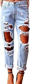 Popbop Women's Skinny Faded Ripped Casual Slim Denim Cotton Jeans