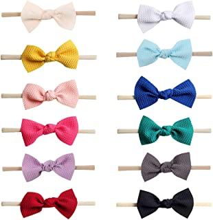 12 Pack Nylon Elastic Stretchy Super Soft Knot Bowknot Hair Bows Slim Skinny Thin Nude Headband Hairband Head Wraps Holder Accessories for Kids Toddler Infant Newborn Baby Girl Bulk