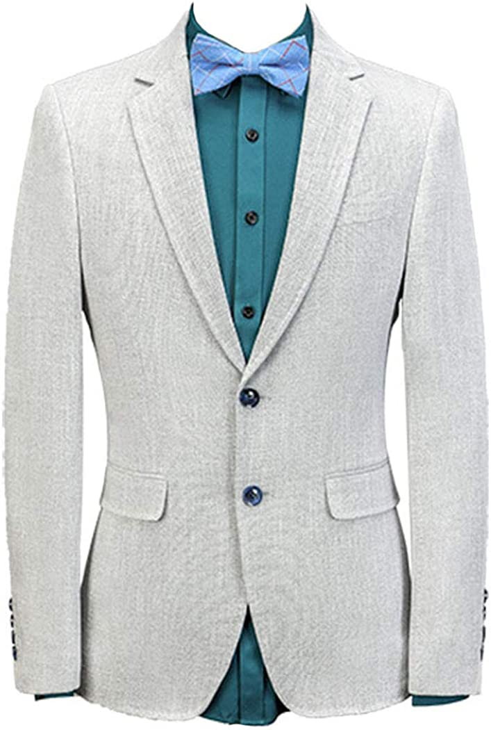 Michealboy Men's 3-Piece Suit Linen Notched Lapel Single Breasted Two Buttons Tuxedo for Groom