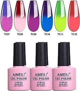 AIMEILI Temperature Color Changing Soak Off UV LED Chameleon Gel Nail Polish Set Of 6pcs X 10ml- Kit Set 15