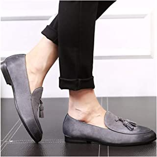 HUIJUEWENTI Tasseled Oxford for Men Smoking Loafers Slip On Suede Pointed Toe Low Block Heel Anti-Slip Wear-Resisting Burnished Style Rubber Sole Casual Fashion