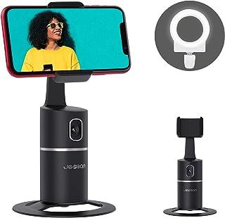 سه پایه ردیابی صورت خودکار ، دوربین دوربین چرخشی 360 درجه با چراغ زنگ سلفی ، بدون برنامه ، نگهدارنده عکسبرداری هوشمند با باتری برای Vlog زنده (سیاه)