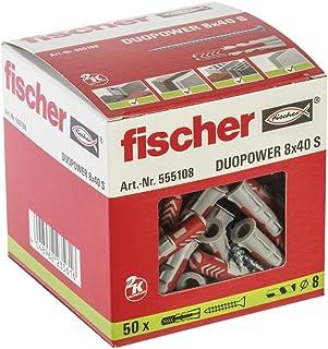 Fischer Taco Duopower 8X40 S / (Caja de 50 Uds), 555108, Gris y Rojo