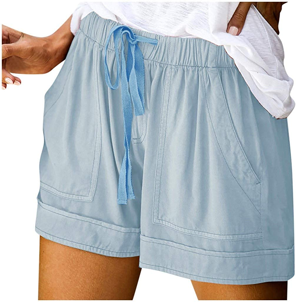 COMVALUE Shorts for Women,Womens Summer Casual Ruffle Short Drawstring Elastic Waist Shorts with Pockets