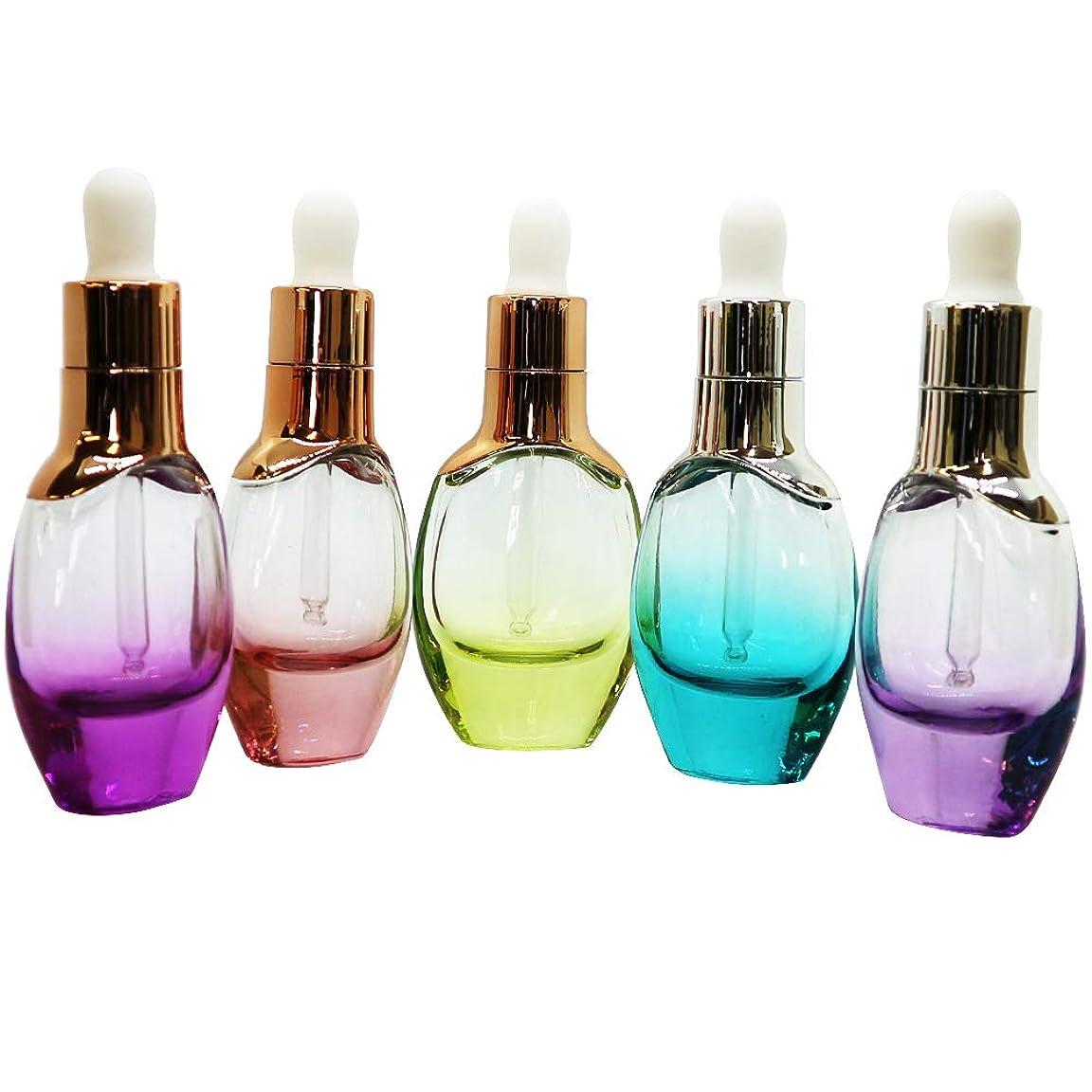 神経で傾向Coco Makai スポイト付き エッセンシャル ボトル 5本セット アロマ 化粧水 オイル ガラス製 かわいい カラフル