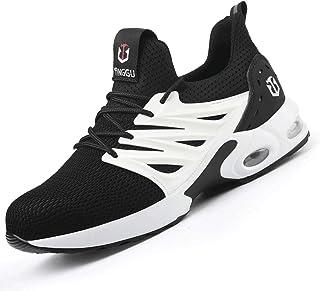 Zapatillas de Seguridad Hombres Hembra Ultra Liviano Zapatos de Trabajo con Punta de Acero Suave y cómodo IndustrialesTran...