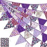39,5 Feet Stoff Banner Bunting in 42 Stücke Blumen Flaggen Dreieck Flagge Wimpel mit Bündel Tasche Elegant & Retro Wiederverwendbar für Geburtstag (Lila Blume)