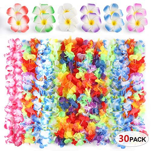HOWAF 30 Pack Collares Flores Hawaianas Disfraces de Fiesta Hawaiian Lei Flor Guirnalda Hula y Plumeria Pinzas de Pelo para Luau Hawaiana Playa Fiesta decoración