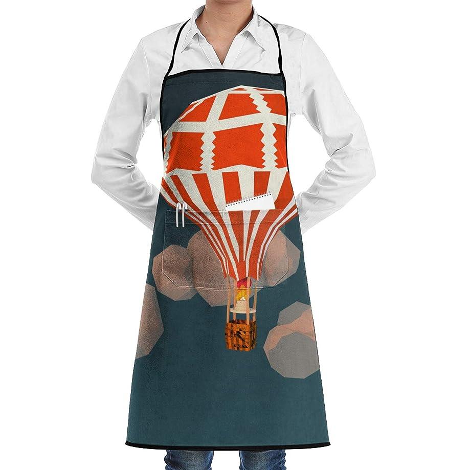 Kitchen Chef Bib Apron Hot Air Balloon Neck Waist Tie Center Kangaroo Pocket Waterproof