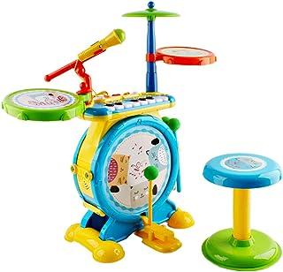 deAO Instrument Musical Electronique Rock and Roll, Jouet pour Enfants avec Percussion, Clavier, Microphone Et Tabouret Jouet