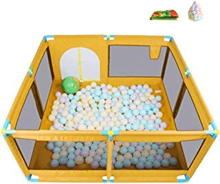 XHJYWL Playpen 4-Panel Play Yard Baby Indoor Outdoor Children s Game Fence Household Ball Pool Toy with 200 Balls  66cm Tall  Color ORANGE  Size 128 128cm