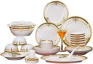 Ensemble de dîner Ensemble de dîner de 56 pièces, Vaisselle en porcelaine de Chine exquise florale de Phnom, multi-personn...