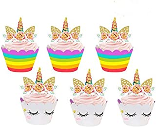 Blanketswarm 24 Piezas Unicornio Cupcake Toppers Expositor Cupcakes y Envolturas Doble Cara Niños Fiesta Pastel Decoraciones