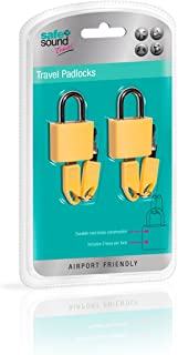 Safe & Sound Pair Of Travel Padlocks In Brass Covered with Vinyl Luggage Lock, 17 cm, Assorted