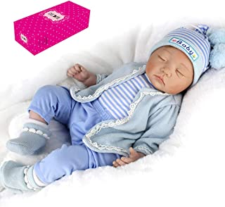 Docooler Decdeal Reborn Baby Doll 22 inch Sleeping Realistic Soft Touch Baby Dolls Play House Toy Baby Gifts Birthday Set with Blue Sweater